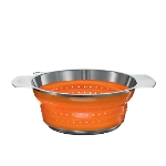 Rosle 16128 9.4-in Collapsible Colander, Stainless Steel, Orange