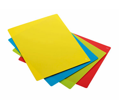 Rosle 15015 4-Space Saving Cutting Mats w/ Non Slip Reverse Side & Flexible, 9.8x13.8""