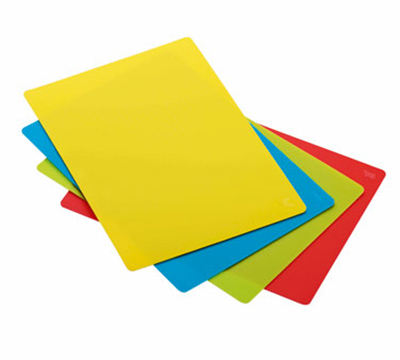Rosle 15017 4-Space Saving Cutting Mats w/ Non Slip Reverse Side & Flexible, 13.8x17.7-in