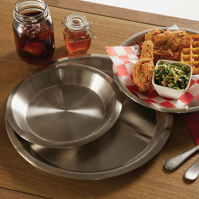 "American Metalcraft 1300SS 13-1/8"" Pie Pan - 18/8-ga Stainless"