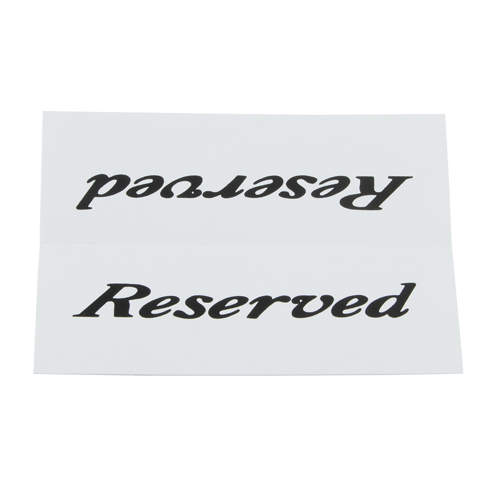 "American Metalcraft 2600 ""Reserved"" Table Tent Sign - 2"" x 6"", White/Black"