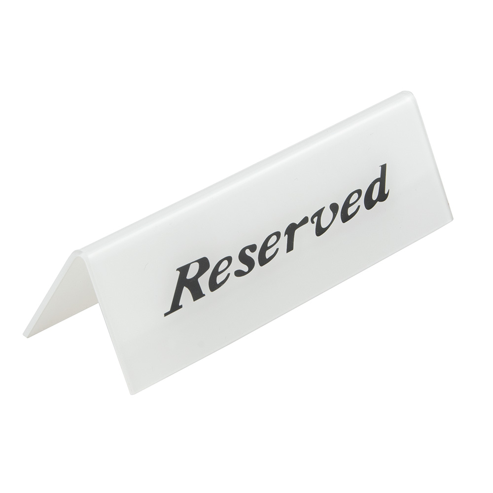 "American Metalcraft 2601H ""Reserved"" Table Tent Sign - 2"" x 6"", White/Black"
