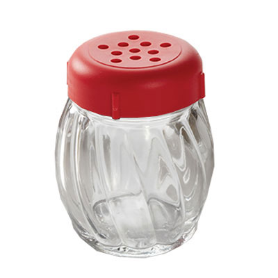 American Metalcraft 33RP 6-oz Glass Shaker - Perforated Red Lid