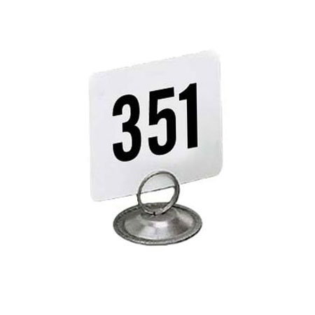 "American Metalcraft 4400 Tabletop Number Cards - #351-400, 4"" x 4"", White/Black"