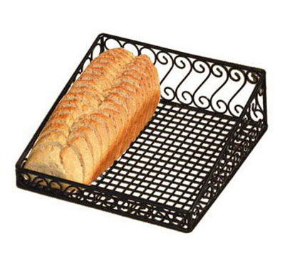 American Metalcraft ABS412 Display Basket, Angled, 12 in x 12 in x 4 in, Scroll Design, Black