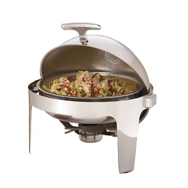 American Metalcraft ADAGIORD18 Round Chafer w/ Roll-Top Lid & Chafing Fuel Heat