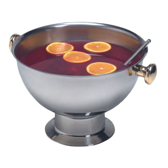 American Metalcraft ALLEGPBWL15 Punch Bowl w/ 14-qt Capacity & Knob Handle, Gold/Stainless