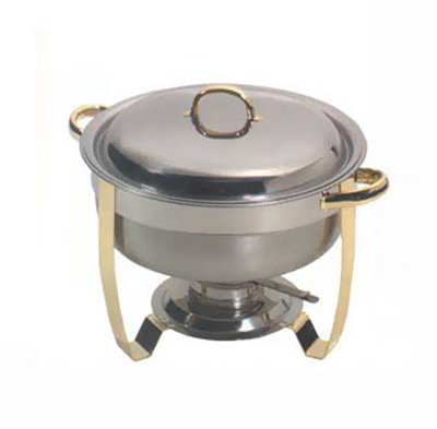 American Metalcraft ALLEGR50 Round Chafer w/ 5.25-qt Capacity, Mirror Finish, Gold/Stainless
