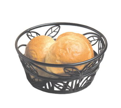 American Metalcraft BLLB81 8-in Bread Basket w/ Leaf Design, Wrought Iron/Black