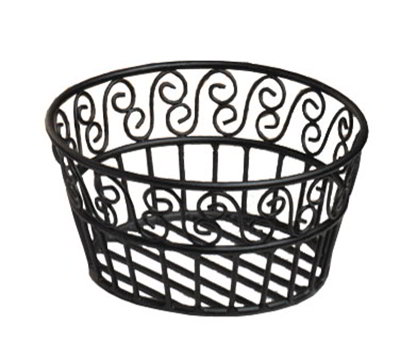 American Metalcraft BLSB93 9-in Bread Basket w/ Scroll Design, Wrought Iron/Black
