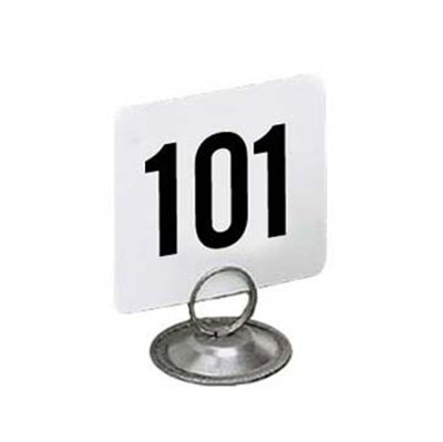 American Metalcraft 4150 4-in Square Table Number w/ Numbers 101 Through 150, Plastic, Black/White