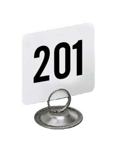 American Metalcraft 4250 4-in Square Table Number w/ Numbers 201 Through 250, Plastic, Black/White