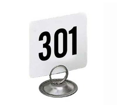 American Metalcraft 4350 4-in Square Table Number w/ Numbers 301 Through 350, Plastic, Black/White