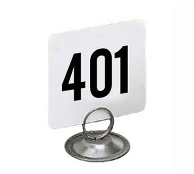 American Metalcraft 4450-CARDS 4-in Square Table Number w/ Numbers 401 Through 450, Plastic, Black/White