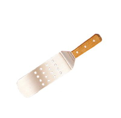 American Metalcraft LT14P 14-in Turner w/ Perforated Round Blade, 3x8-in, Wood/Stainless