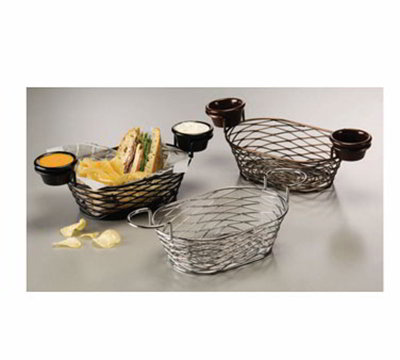 American Metalcraft BNBB692 9-in Oblong Wire Basket, Black