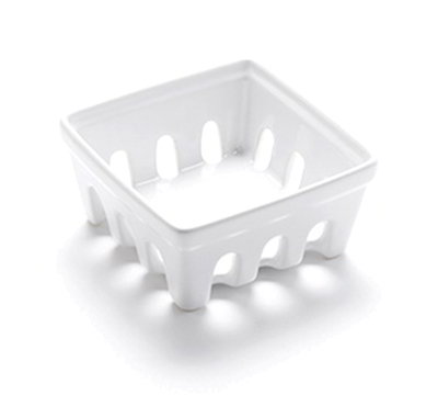 "American Metalcraft BBSKT3 5-7/8"" Square Berry Basket - White Ceramic"