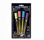 American Metalcraft BLSMA100V4TR Mini Tip Chalk Markers, Assorted Tropical