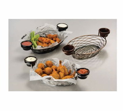American Metalcraft BNBB821 11-in Oval Wire Basket w/ Ramekin Holder, Black