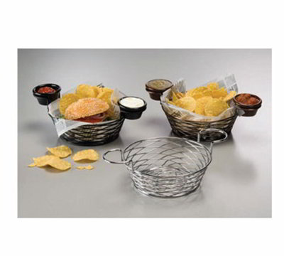American Metalcraft BNBB83 Round Wire Basket w/ Ramekin Holder, 8x3.62-in, Black