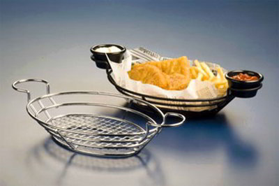 American Metalcraft BSKB811 Oval Wire Basket w/ Ramekin Holder, 11x8-in, Black