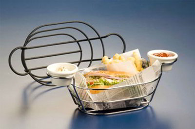 American Metalcraft BSKB96 Oval Wire Basket w/ Ramekin Holder, 6x9-in, Black