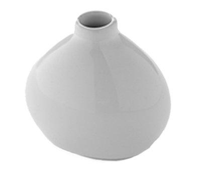 "American Metalcraft BVR3 3-1/2"" Mini Round Bud Vase - White Ceramic"