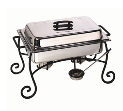 American Metalcraft CF1 Chafer Frame & Cup w/ Side Handle, Black/Wrought Iron