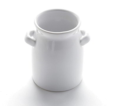 American Metalcraft CMP3 4-oz Mini Milk Can with Handles - White Ceramic