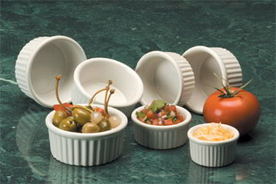 American Metalcraft CRMK45 Fluted Ramekin w/ 4.5-oz Capacity, Ceramic/White