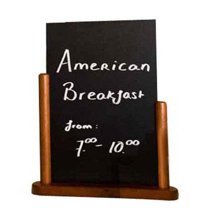 American Metalcraft ELEMME Table Top Board w/ Removable Blackboard, 6x9-in, Mahogany
