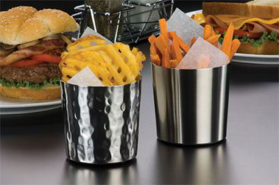 American Metalcraft FFHM37 3.37-in French Fry Cup, Satin Finish, Hammered/Stainless