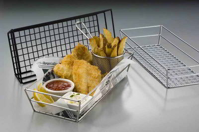 American Metalcraft GCSS6132 Rectangular Tabletop Basket, Stainless