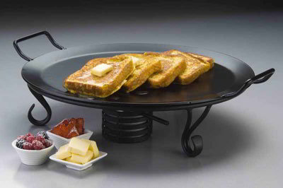 American Metalcraft GS18 18-in Round Griddle w/ Stand, Wrought Iron/Black