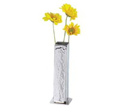 American Metalcraft HMBV1 Square Bud Vase, Hammered, Stainless