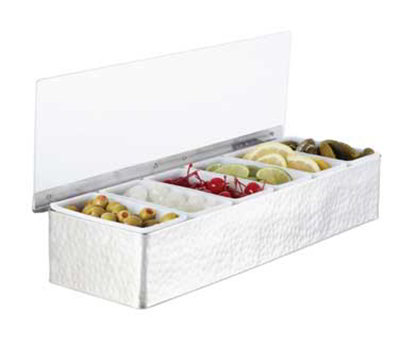 American Metalcraft HMCD6 6-Compartment Condiment Holder, Hammered, Stainless