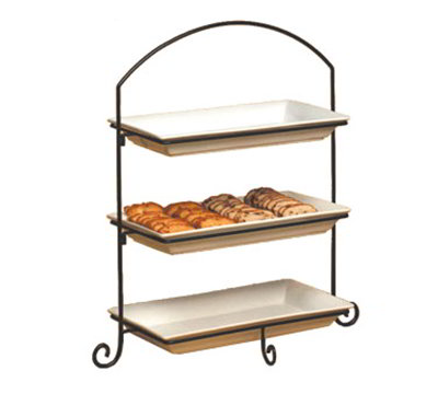 American Metalcraft IS13 3-Tier Rectangular Platter Stand w/ Curled Feet, Large, Wrought Iron/Black