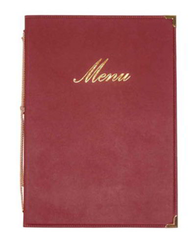 American Metalcraft MCCRLSWR Menu Cover w/ 2-Page Insert & Album Style Corners, Wine Red