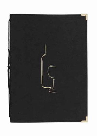 American Metalcraft MCCWLSBL Wine Card w/ 2-Page Insert & Album Style Corners, Black