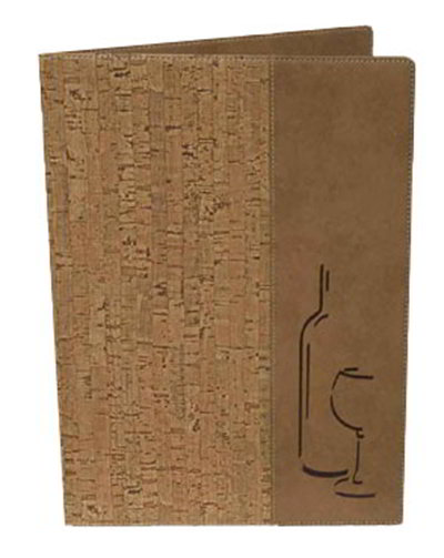 American Metalcraft MCDWLSCORK Wine Card w/ 2-Page Insert & Wine Bottle On Cover, Brown