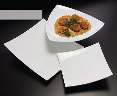 American Metalcraft MEL44 17-in Triangle Plate, Melamine.White