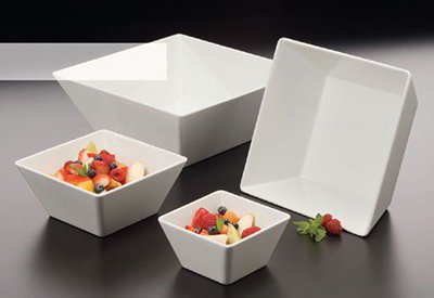 American Metalcraft MELSQ94 9.5-in Square Bowl, Melamine/White