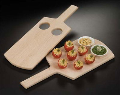 American Metalcraft MSB1 8-in Serving Board w/ 2-Holes For Sauce Cup, Maple