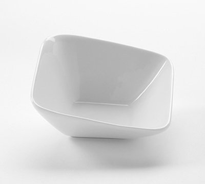 American Metalcraft PB4 4-oz Square Slanted Bowl - White Porcelain