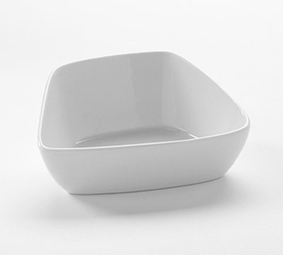 American Metalcraft PB5 5-oz Square Slanted Bowl - White Porcelain