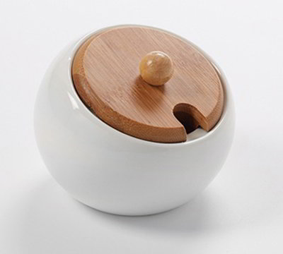 American Metalcraft PCBL6 6-1/2-oz Round Slanted Pot - Bamboo Lid/White Porcelain