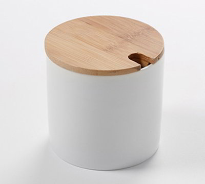 American Metalcraft PCBL9 9-oz Round Canister - Bamboo Lid/White Porcelain
