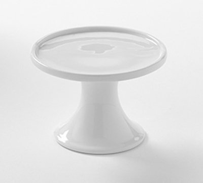 "American Metalcraft PSP4 4"" Round Serving Stand - White Porcelain"