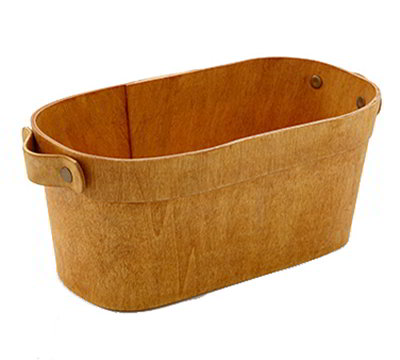 "American Metalcraft PWOB8 10"" Oblong Basket with Handles - Poplar Wood"