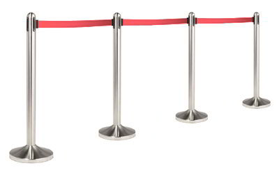 American Metalcraft RSRTRD 15-in Portable Barrier System w/ Retractable Tape, Red/Stainless